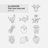 Allergen gör linjen symbolsuppsättning tunnare Royaltyfri Illustrationer