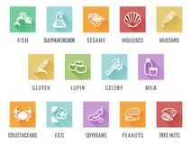 Allergen Icon Set. Food allergy icons including the 14 allergies outlined by the EU Food Information for Consumers Regulation, EFSA European Food Safety Royalty Free Stock Photo