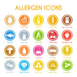 Allergen icons set. Vector illustration Stock Images