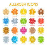 Allergen icons set. Vector illustration Royalty Free Stock Photo
