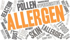 Allergen Word Cloud. On a white background Stock Photos