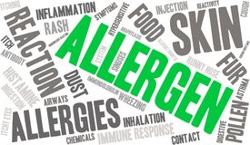 Allergen Word Cloud. On a white background Royalty Free Stock Images