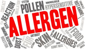Allergen Word Cloud. On a white background Royalty Free Stock Photos