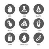 Allergenenpictogrammen - Symbolen stock illustratie