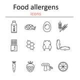 Allergeni dell'alimento Allergeni dell'alimento delle icone nello stile della linea Fotografie Stock