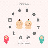 Allergens at breast-feeding icons set. Royalty Free Stock Image