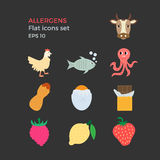 Allergens flat design icons set. On black background. Vector illustration of food ingridients, that may cause allergy Royalty Free Stock Photo