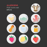 Allergens flat design icons set. On black background. Vector illustration of food ingridients, that may cause allergy. Round icons with long shadows Royalty Free Stock Images