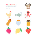 Allergens flat design icons set. On white background. Vector illustration of food ingridients, that may cause allergy Royalty Free Stock Photography
