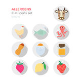 Allergens flat design icons set. On white background. Vector illustration of food ingridients, that may cause allergy. Round icons with long shadows Stock Images