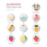 Allergens flat icons set. Allergens flat design icons set on white background. Vector illustration of food ingridients, that may cause allergy. Round icons with Royalty Free Stock Photography