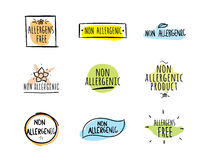 Allergens free, non allergenic vector labels. Royalty Free Stock Images