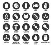 Allergens icon set. Set of 20 allergen ingredient icons. Eggs and dairy, nuts and soy, sulfites and preservatives, and more Stock Photos