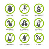 Allergens Icons. Set of food labels - allergens, GMO free products Stock Image