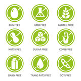 Allergens Icons. Set of food labels - allergens, GMO free products Royalty Free Stock Photo