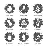 Allergens Icons - Symbols. Set of food labels - allergens, GMO free products royalty free illustration