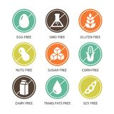 Allergens Icons - Symbols. Set of food labels - allergens, GMO free products Stock Images