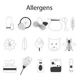Allergens set. Vector illustration. Thin line Royalty Free Stock Photo