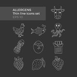 Allergens thin line icons set. On black background. Vector illustration of food ingridients, that may cause allergy Royalty Free Stock Photo