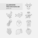 Allergens thin line icons set. On white background. Vector illustration of food ingridients, that may cause allergy Stock Photos
