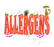 Allergens Typography. Whimsical typography design in red caps illustrating the word Allergens Royalty Free Stock Photos