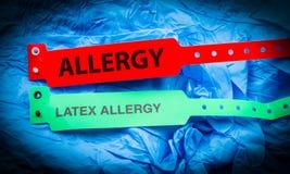 Allergi och latexallergi arkivbild