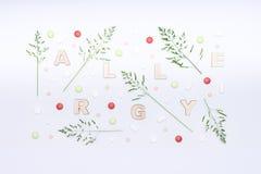 Allergia, allergeni, allergie stagionali Concetto minimo di disposizione del piano di allergia dell'erba Pillole di madication di Fotografie Stock