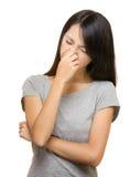 Allergia asiatica del naso della donna Fotografia Stock Libera da Diritti