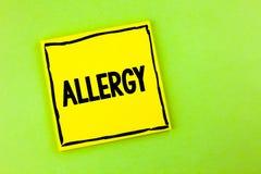 Allergia del testo della scrittura I danni di significato di concetto nell'immunità dovuto ipersensibilità la ottengono diagnised Fotografia Stock