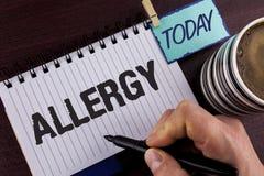 Allergia di scrittura del testo della scrittura E Immagini Stock