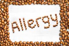 Allergia scritta con le arachidi e circondata con i dadi fotografia stock