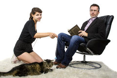 Allergic Dad Hates Pet Cat Stock Photography