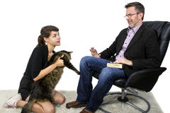 Allergic Dad Hates Pet Cat Royalty Free Stock Photography