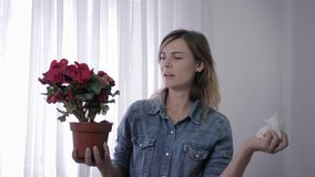 Allergic girl, young woman with sensitivity to pollen holds flower in her hands and constantly sneezes wiping face with. Allergic girl, young woman with stock footage