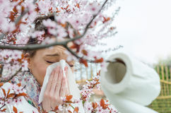 Allergic reactions to spring flowers Royalty Free Stock Image