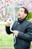 Allergic reactions to spring flowers Stock Image