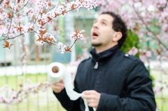 Allergic reactions to spring flowers Stock Photo
