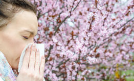 Allergic reactions to spring flowers Stock Photos