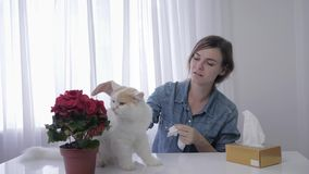 Allergic to animals, an adult girl suffers and sneezing from respiratory disease on hair of pet in room. Allergic to animals, an adult girl suffers and sneezing stock footage