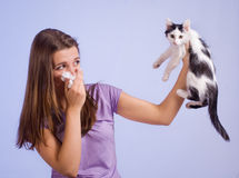 Allergic to cat. The girl is allergic to cat Stock Photo