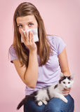 Allergico al gatto Immagine Stock Libera da Diritti