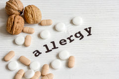 Allergie alimentari di concetto su fondo bianco Fotografia Stock Libera da Diritti