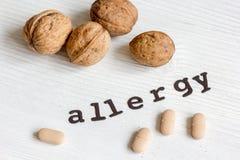 Allergie alimentari di concetto su fondo bianco Fotografia Stock