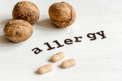 Allergie alimentari di concetto su fondo bianco Immagine Stock Libera da Diritti