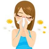 Allergie-leidende Frau Lizenzfreie Stockfotos