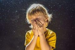 Allergie, zum des Jungenniesens abzuwischen, weil er allergisch ist, Staubfliegen in der Luft abzuwischen, die durch Licht hinter stockbilder