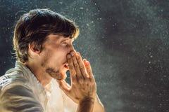 Allergie, zum des Niesens eines Mannes abzuwischen, weil er allergisch ist, Staubfliegen in der Luft abzuwischen, die durch Licht stockfotos