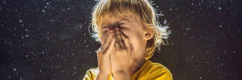 Allergie zum Staub Jungenniesen, weil er allergisch ist, Staubfliegen in der Luft abzuwischen, die durch helle FAHNE hintergrundb lizenzfreie stockfotografie