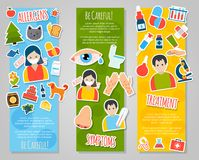 Allergies Banner Set Stock Photography