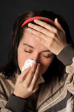 Allergies cold flu. Person with a cold or allergy Stock Images